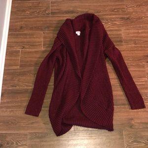 maroon women's cotton cardigan